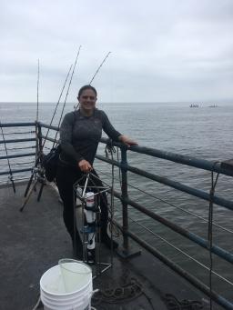 Me on the Santa Monica Pier sampling water